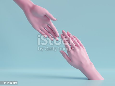 istock 3d render, beautiful hands isolated, female mannequin body parts, minimal fashion background, helping hands, blessing, partnership concept, pink blue pastel colors 1141495489