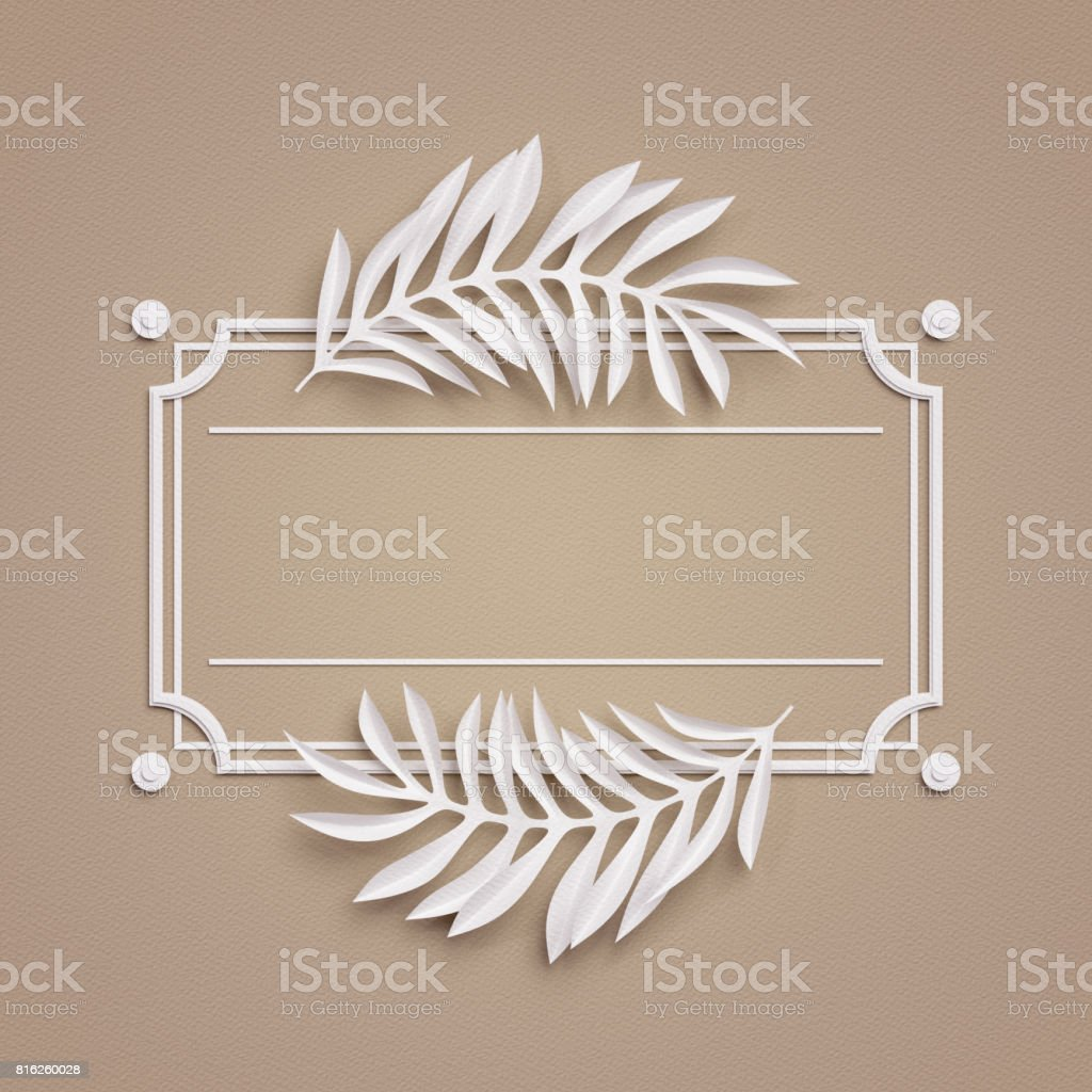 3d render, beige paper craft background, palm leaves, poster frame, cover, banner, label stock photo