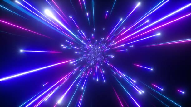 3d render, big bang, galaxie, abstrakter kosmischer hintergrund, himmlisch, schönheit des universums, lichtgeschwindigkeit, feuerwerk, neonglühen, sterne, kosmos, ultraviolettes infrarotlicht, weltraum - quant stock-fotos und bilder