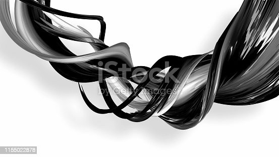 istock 3d render black and white ribbon curved and twisted in ring. Interesting 3d abstract figure that glitters like a striped candy or rolled plastic gift ribbon. beautiful lines on a white background. 48 1155022878