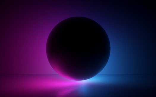 3d render, black ball in neon light, abstract background, blank sphere, globe model, laser show, esoteric energy, abstract background, ultraviolet spectrum