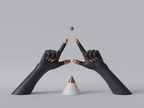 istock 3d render, black decorative female mannequin hands isolated on white background, fingers pointing up, golden ball, body parts, fashion concept, cone shape, esoteric fortuneteller, clean minimal design 1166252537