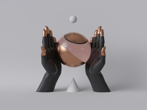 istock 3d render, black decorative female mannequin hands isolated on white background, holding rose gold ball, body parts, fashion concept, esoteric fortuneteller, sacred geometry, clean minimal design 1176301220