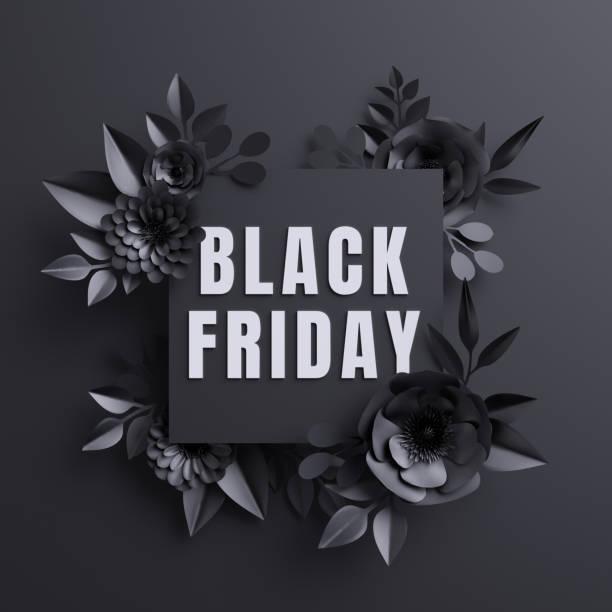 render 3D, anuncio de viernes negro, flores de papel, fondo botánico, banner plaza comercial de moda, tarjeta floral, gótico - foto de stock