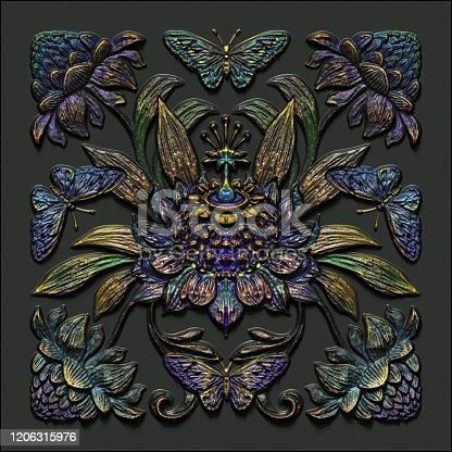 3d render, black gold antique floral carving, aged metallic tile, botanical pattern, medieval ornament, ancient ironwork, tropical flowers and leaves motif