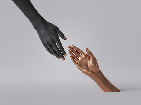 istock 3d render, black gold female hands isolated, minimal fashion background, helping hands, mannequin body parts, feminist, partnership concept, clean minimal design 1176301208
