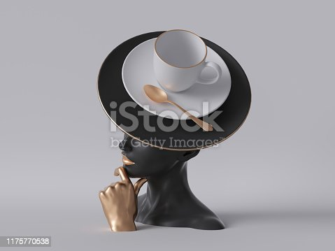 istock 3d render, black mannequin woman head isolated on white background, golden hand, lady wearing unusual hat, coffee cup and golden spoon, fashion concept, female body parts, clean minimal design 1175770538