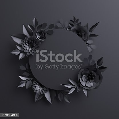 istock 3d render, black paper flowers, botanical background, blank round banner, floral card, gothic frame 873864892