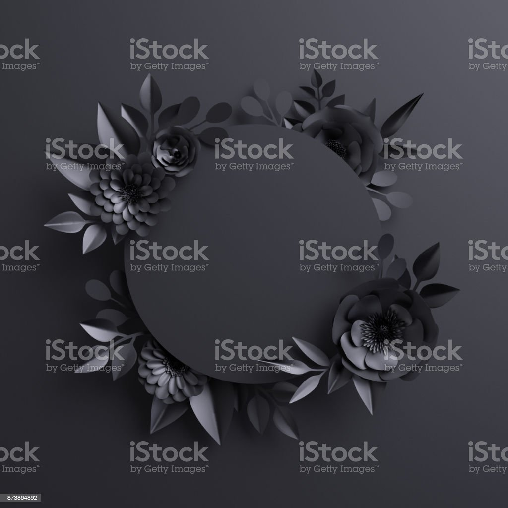 3d render, black paper flowers, botanical background, blank round banner, floral card, gothic frame stock photo