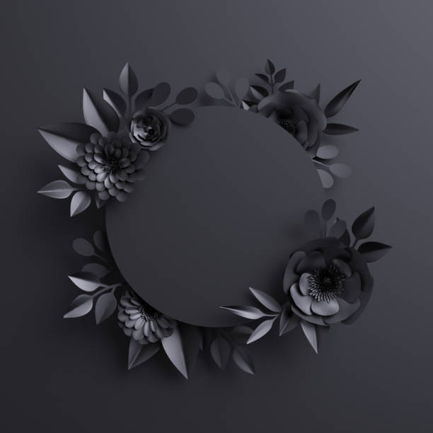 3d render, black paper flowers, botanical background, blank round banner, floral card, gothic frame - gothic fashion stock photos and pictures