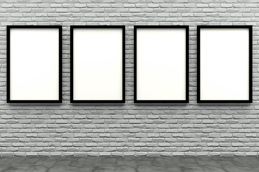 istock 3d render black Photo frame on white brick wall 1059683152