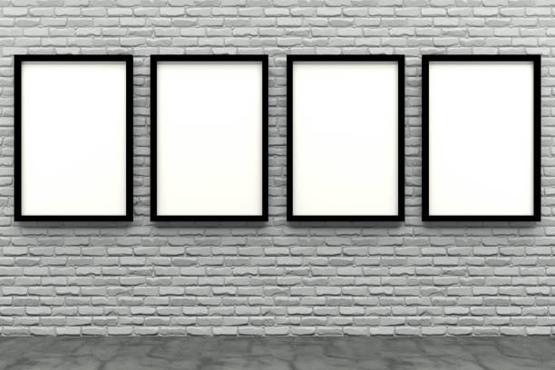 3d render black Photo frame on white brick wall 3d render black Photo frame on white brick wall number 4 stock pictures, royalty-free photos & images
