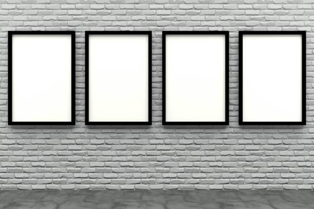 3d render black Photo frame on white brick wall stock photo