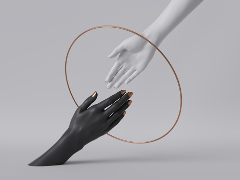 istock 3d render, black white female hands isolated, minimal fashion background, helping hands inside round frame, golden ring, mannequin body parts, feminist, partnership concept, clean minimal design 1166252305