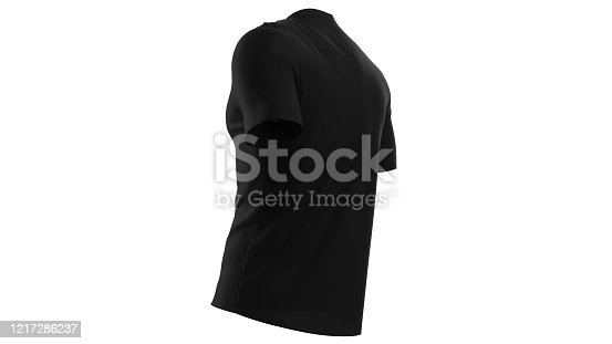 istock 3d render blank shirt isolated on white background. Empty clothing for design. isolated with Clipping path stock photo 1217286237