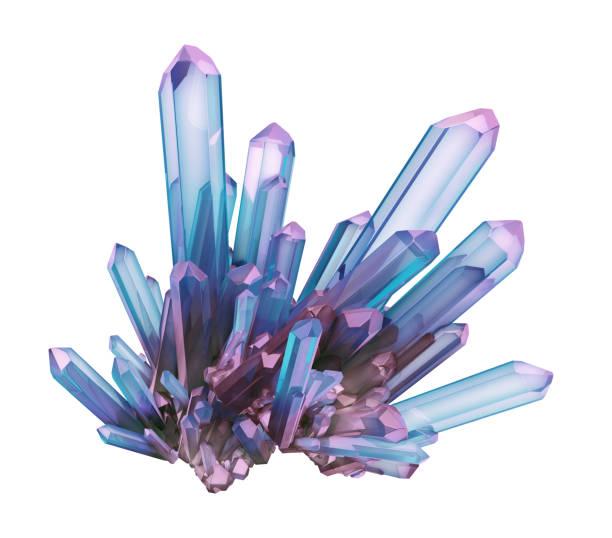 3d render, blå kristall isolerad på vit bakgrund, pärla, naturliga nugget, esoteriska tillbehör - kristall bildbanksfoton och bilder
