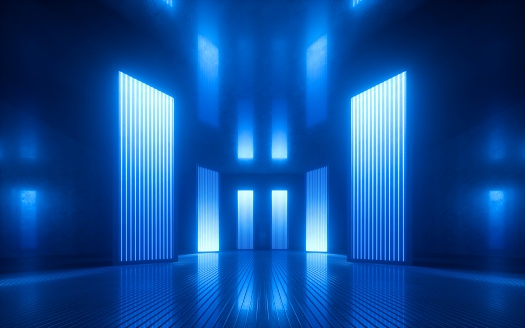istock 3d render, blue neon abstract background, ultraviolet light, night club empty room interior, tunnel or corridor, glowing panels, fashion podium, performance stage decorations, 1164356734