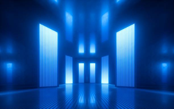 3d render, blue neon abstract background, ultraviolet light, night club empty room interior, tunnel or corridor, glowing panels, fashion podium, performance stage decorations, - led painel imagens e fotografias de stock