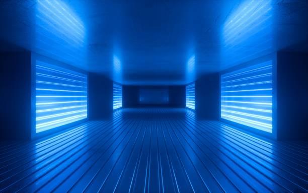 3d 렌더, 블루 네온 추상 배경, 자외선, 나이트 클럽 빈 방 인테리어, 터널 또는 복도, 빛나는 패널, 패션 연단, 공연 무대 장식, - 자외선 차단 뉴스 사진 이미지