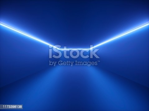 istock 3d render, blue neon light, abstract background with glowing lines, cyber space in virtual reality, night club room interior, fashion podium or stage, empty corridor in ultraviolet spectrum 1173398138