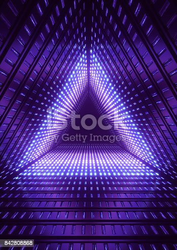 istock 3d render, blue neon lights, blue triangle tunnel, abstract geometric background 842808868