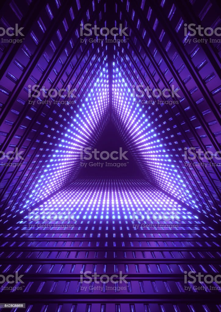 3d render, blue neon lights, blue triangle tunnel, abstract geometric background stock photo