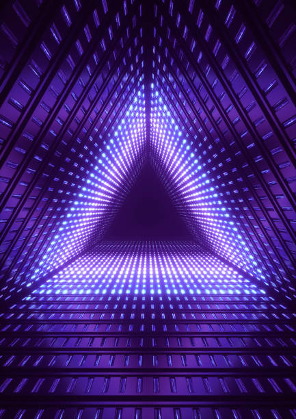 3 d レンダリング、青いネオンが、青い三角形トンネル、抽象的な幾何学的な背景 ストックフォト