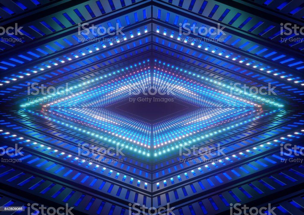 luzes de néon 3D render, azul, túnel colorido brilhante, abstrato base geométrica - foto de acervo