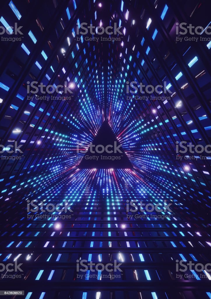 3d render, blue neon lights, led, triangle tunnel, abstract geometric background stock photo