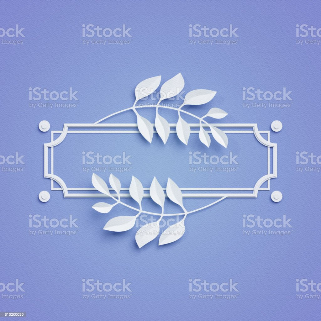 3d render, blue paper craft background, palm leaves, poster frame, cover, banner, label stock photo