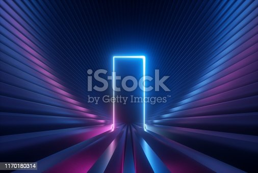 istock 3d render, blue pink neon abstract background with glowing arch, rectangular shape, ultraviolet light, laser show performance stage, wall reflection 1170180314