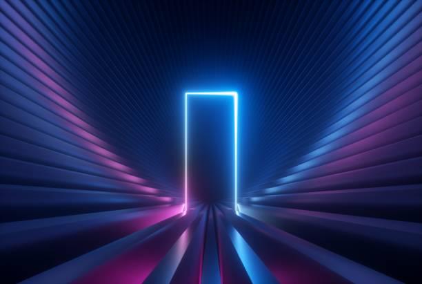 3dレンダー、光るアーチ、長方形、紫外線、レーザーショーパフォーマンスステージ、壁反射と青いピンクのネオン抽象的な背景 - 門 ストックフォトと画像
