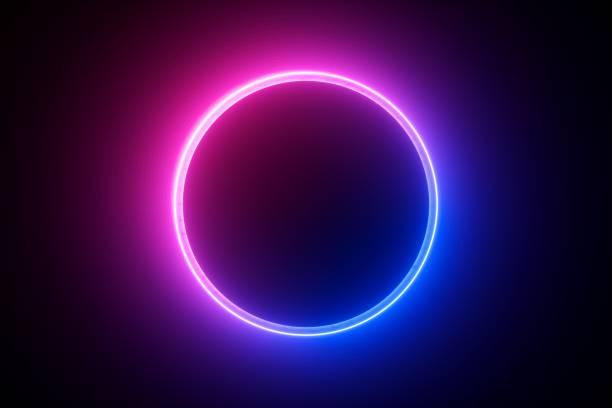 3d 渲染, 藍色粉紅色霓虹燈圓形框架, 圓形, 環形形狀, 空白空間, 紫外線, 80年代的復古風格, 時裝秀舞臺, 抽象背景 - 霓虹燈 個照片及圖片檔