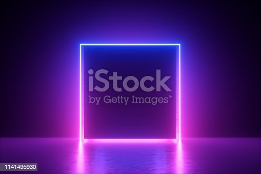 istock 3d render, blue pink neon square frame, empty space, ultraviolet light, 80's retro style, fashion show stage, abstract background 1141495930