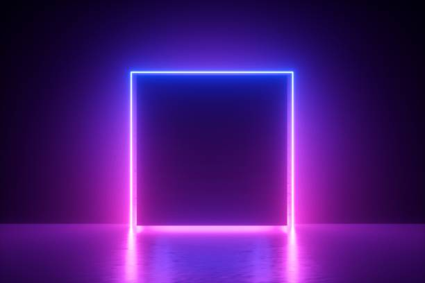 3d 渲染, 藍色粉紅色霓虹燈方塊框架, 空白空間, 紫外線, 80年代的復古風格, 時裝秀舞臺, 抽象的背景 - 霓虹燈 個照片及圖片檔