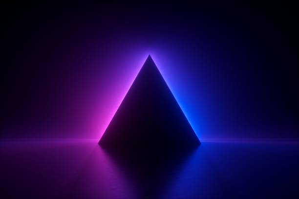 3d render, blauw roze neon driehoekig frame, driehoek vorm, lege ruimte, ultravioletlicht, 80 's retro stijl, modeshow podium, abstracte achtergrond - driehoek stockfoto's en -beelden