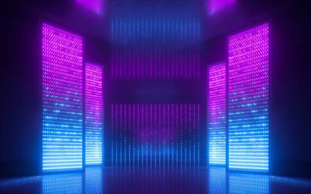 3d render, blue pink violet neon abstract background, ultraviolet light, night club empty room interior, tunnel or corridor, glowing panels, fashion podium, performance stage decorations, - led painel imagens e fotografias de stock