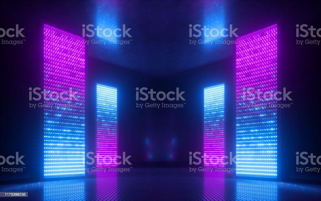 3d Render Blue Pink Violet Neon Abstract Background Ultraviolet