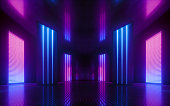 istock 3d render, blue pink violet neon abstract background, ultraviolet light, night club empty room interior, tunnel or corridor, glowing panels, fashion podium, performance stage decorations, 1174840407