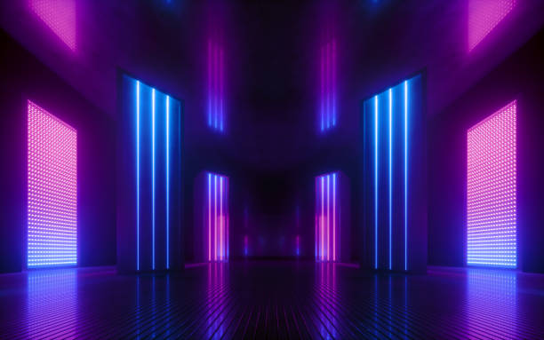 3d render, blue pink violet neon abstract background, ultraviolet light, night club empty room interior, tunnel or corridor, glowing panels, fashion podium, performance stage decorations, 3d render, blue pink violet neon abstract background, ultraviolet light, night club empty room interior, tunnel or corridor, glowing panels, fashion podium, performance stage decorations, nightclub stock pictures, royalty-free photos & images