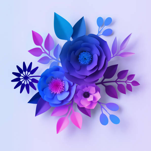 3d render, blue violet neon paper flowers, floral bouquet isolated on white background, botanical wall decor, decorative design stock photo