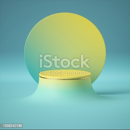 3d render, blue yellow abstract minimal background, clean style. Empty cylinder podium, vacant pedestal, round stage, showcase stand, product display, futuristic platform. Copy space, blank mockup
