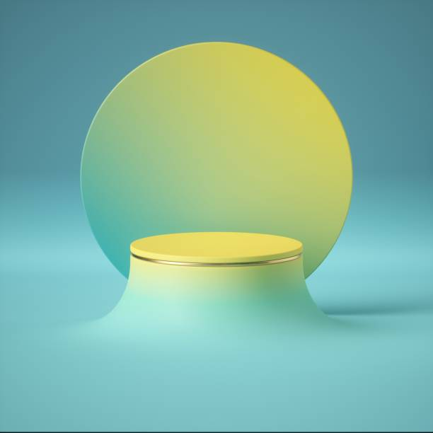 3d render, blue yellow abstract minimal background, clean style. empty cylinder podium, vacant pedestal, round stage, showcase stand, product display, futuristic platform. copy space, blank mockup - cilindro formas geométricas imagens e fotografias de stock