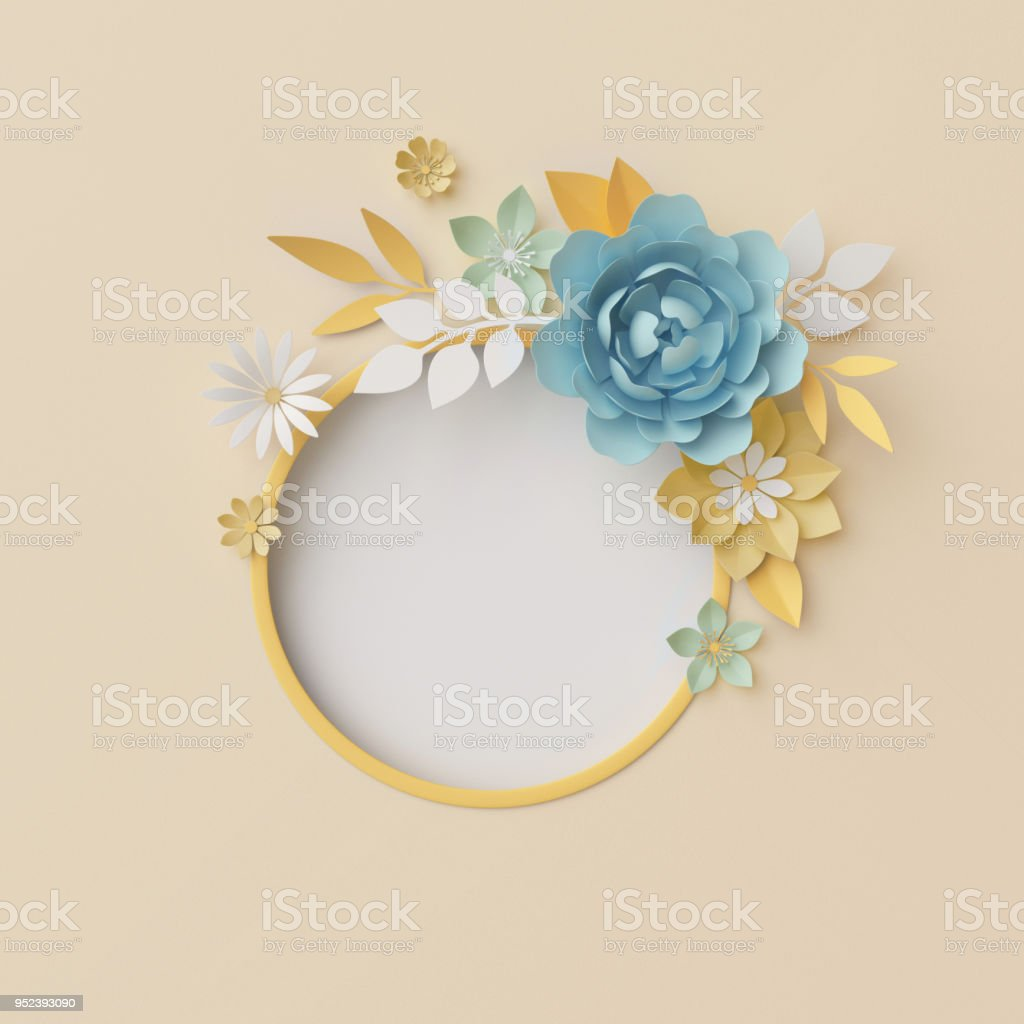 3d Render Botanical Background Pastel Paper Craft Flowers Floral Wreath Nursery Wall Decor Baby Blue Round Frame Blank Banner Copy Space Rose Peony Daisy Leaves Stock Photo Download Image Now Istock