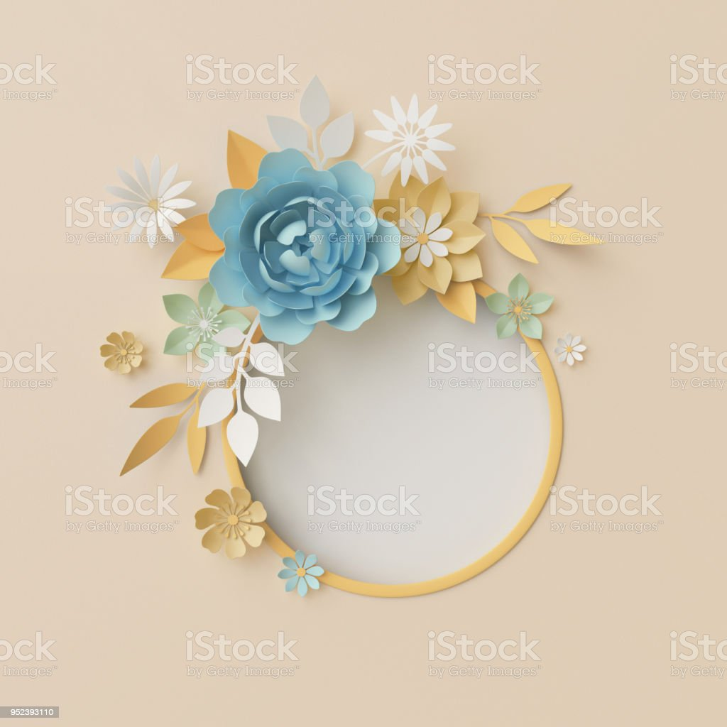 3d Render Botanical Background Pastel Paper Craft Flowers Floral