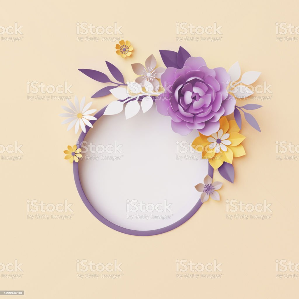 3d Render Botanical Background Pastel Paper Craft Flowers Floral Wreath Nursery Wall Decor Round Frame Blank Banner Copy Space Pink Rose Violet Peony Yellow Daisy Leaves Stock Photo Download Image Now