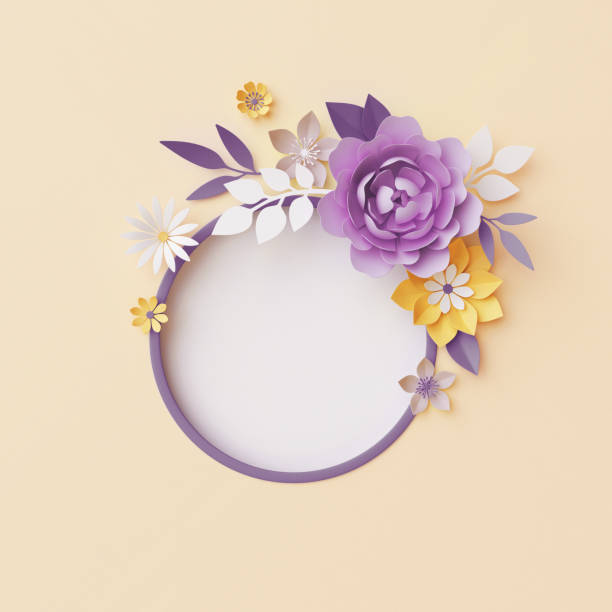 3d render, botanical background, pastel paper craft flowers, floral wreath, nursery wall decor, round frame, blank banner, copy space, pink rose, violet peony, yellow daisy, leaves stock photo