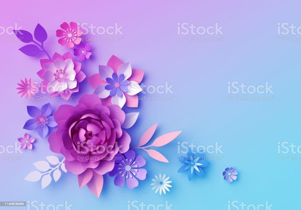 3d Render Botanical Neon Background Pink Blue Paper Flowers Pastel