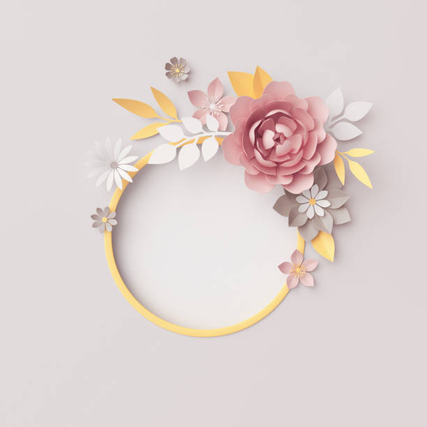 3d render, botanical round frame, gray background, pastel paper flowers, floral wreath, nursery wall decor, baby shower invitation template, blank banner, copy space, pink rose, peony, daisy, leaves stock photo