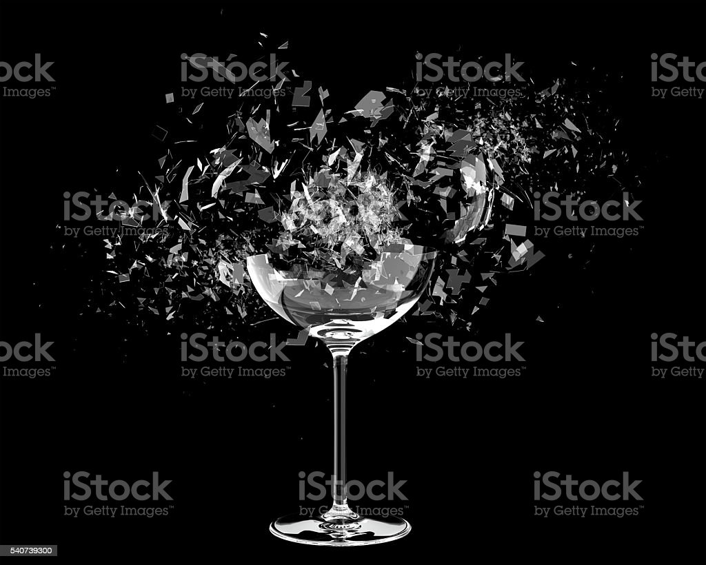 3d render Breaking wine glass on black stock photo